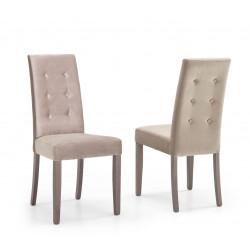 Chaise de salle à manger moderne en tissu beige marron (lot de 2) Evita