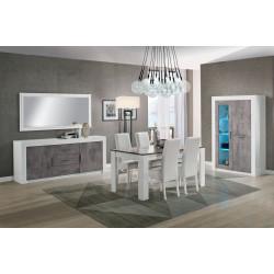 Salle à manger contemporaine blanc/marbre Armel