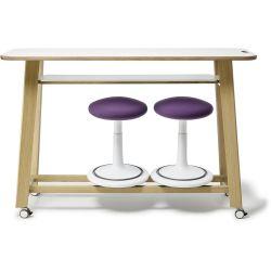 Table de réunion assis-debout avec rangement pour tabourets Aline
