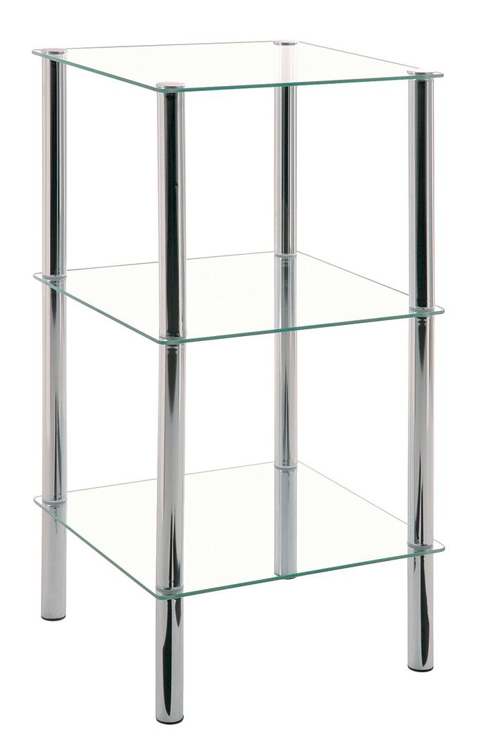 Etagère carrée en verre 3 plateaux Bergen