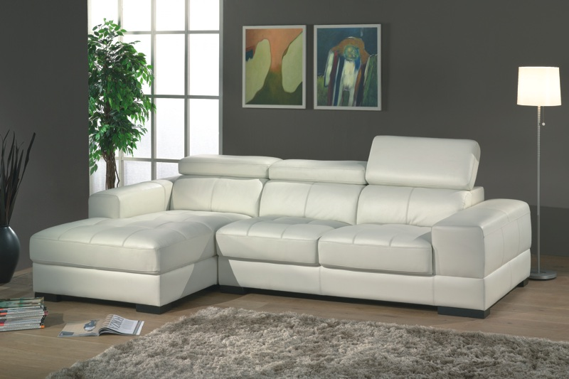 Canapé d'angle fixe cuir PRADO