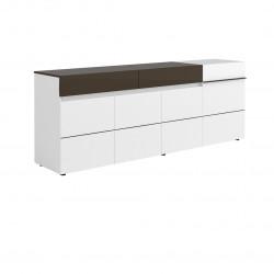 Buffet/bahut moderne 240 cm blanc/noir Emeraude