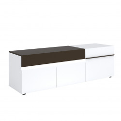 Meuble TV moderne 180 cm blanc/noir Emeraude