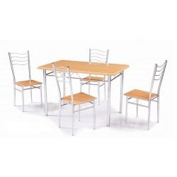 Table de cuisine et 4 chaises coloris naturel/argent Rivoli