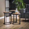 Ensemble industriel de 3 tables basses en bois et métal Benjamin