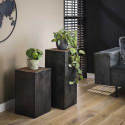 Table d'appoint industrielle en métal et bois hauteur 70 cm Benjamin