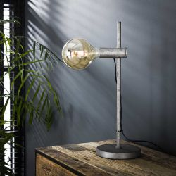 Lampe de table industrielle en métal argenté Tim