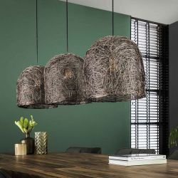 Suspension vintage en métal cuivré 3 lampes Arielle