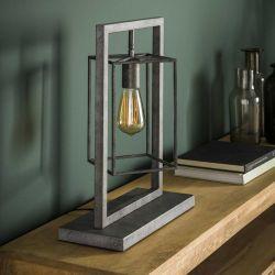 Lampe de table industrielle en métal argenté Sarah