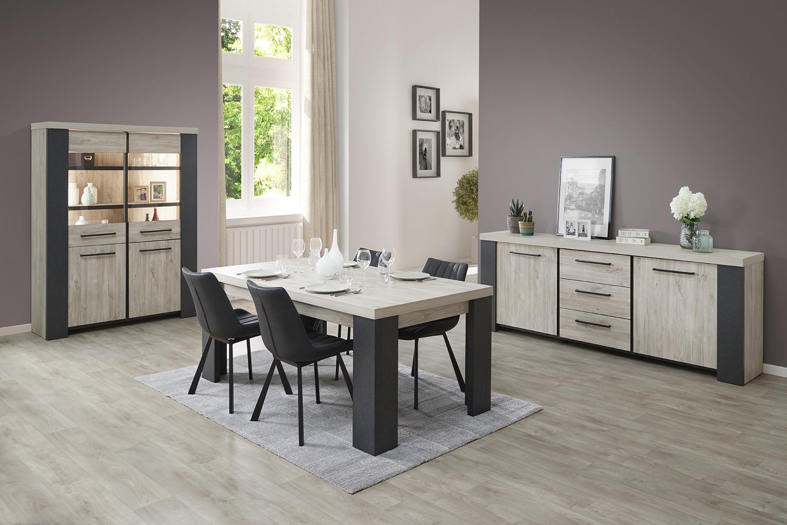 Salle à manger moderne chêne/gris Engueran
