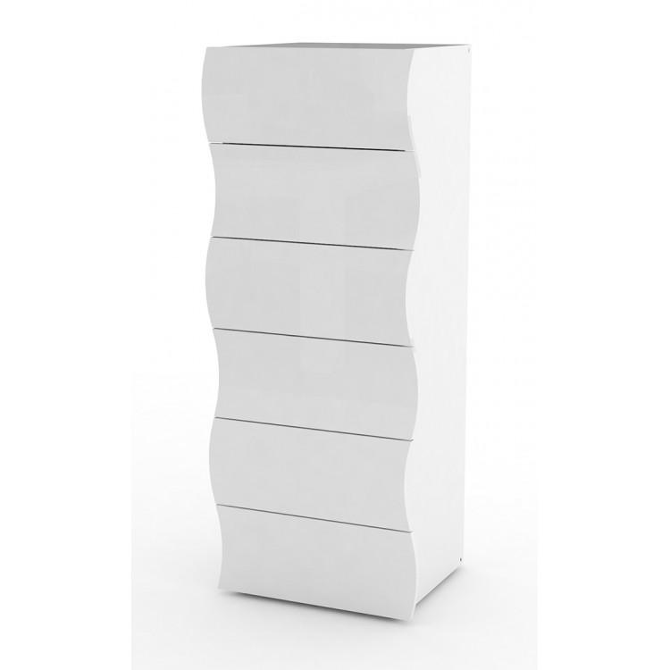 Chiffonnier moderne H 122 cm laqué blanc Onida