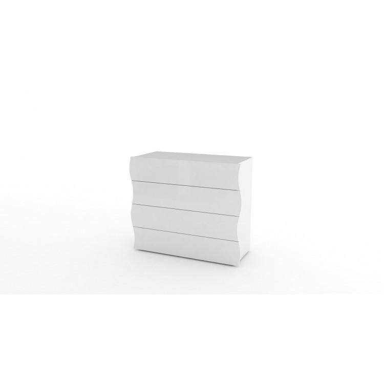 Commode moderne 98 cm blanc laqué Onida