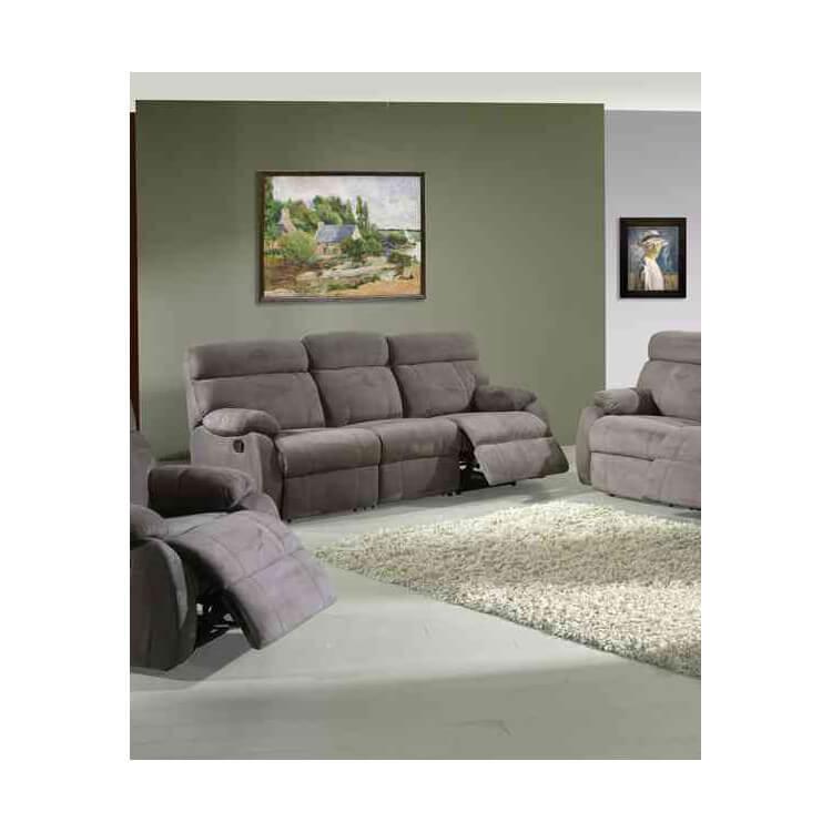 canap de relaxation manuel microfibre 3 places 2 relax sarah. Black Bedroom Furniture Sets. Home Design Ideas