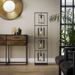 Lampadaire industrielle en métal noir 4 lampes Bob