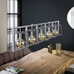 Suspension industrielle ovale en métal argenté 5 lampes Remi