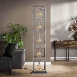 Lampadaire industriel en métal argenté 5 lampes Remi