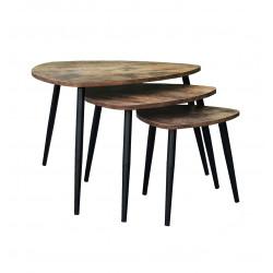 Tables gigognes style industriel chêne foncé Yellowstone