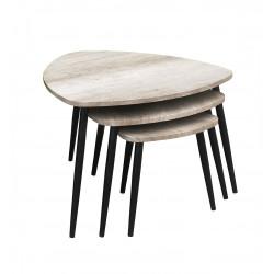 Tables gigognes style industriel chêne clair Brython