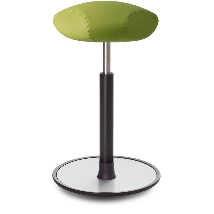 Tabouret ergonomique réglable en hauteur assise en cuir vert Elsa