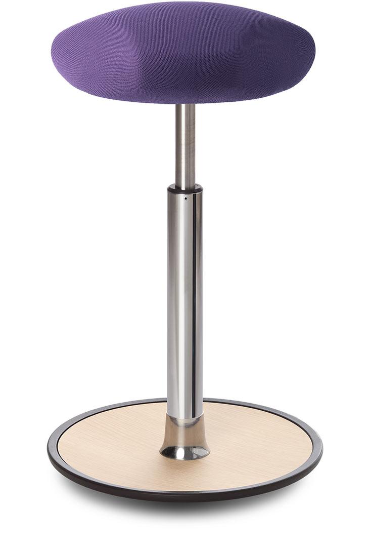 Tabouret ergonomique réglable en hauteur assise en tissu violet Elsa