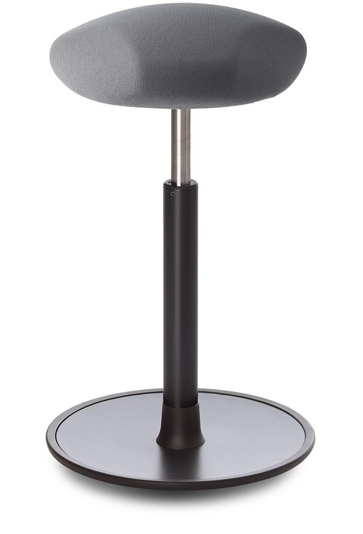 Tabouret ergonomique réglable en hauteur assise en tissu gris Elsa