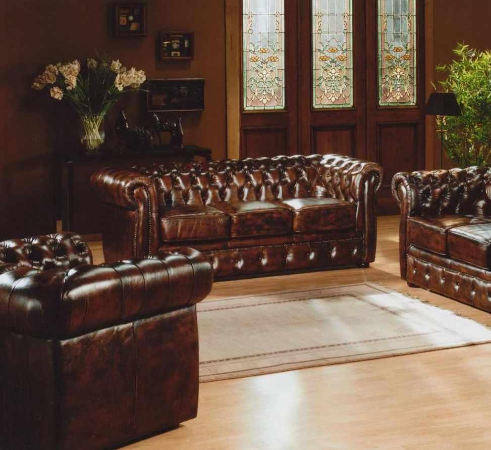 Canapé fixe contemporain 3 places cuir Chesterfield