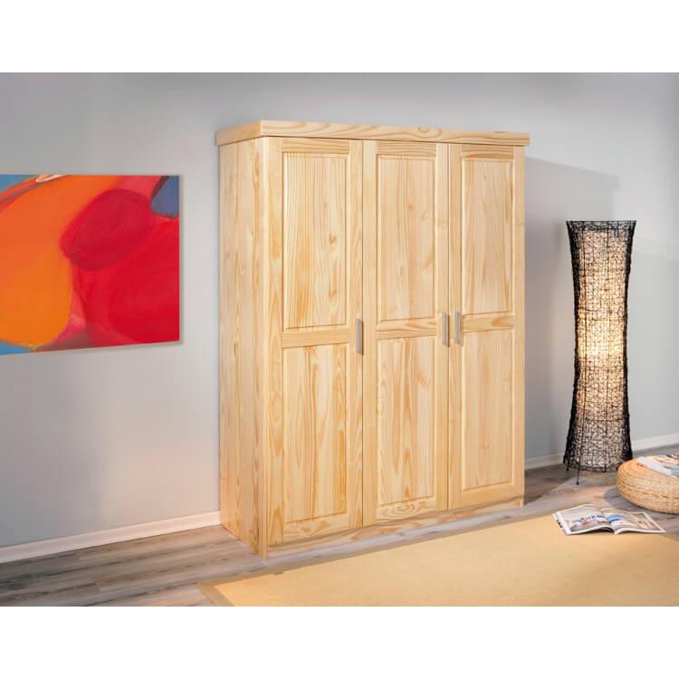 Armoire 3 portes contemporaine en pin massif naturel Paty