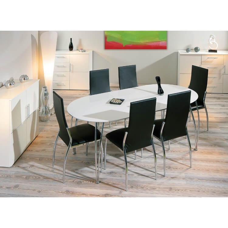 Table de salle à manger moderne extensible blanche Anna