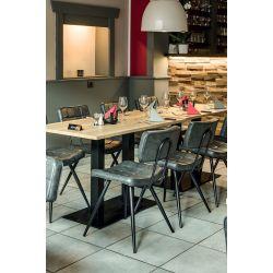 Chaise de restaurant vintage (lot de 2) métal noir et PU Jason