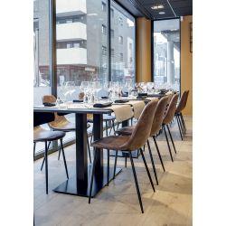 Chaise de restaurant vintage (lot de 2) en métal et PU marron Ronald
