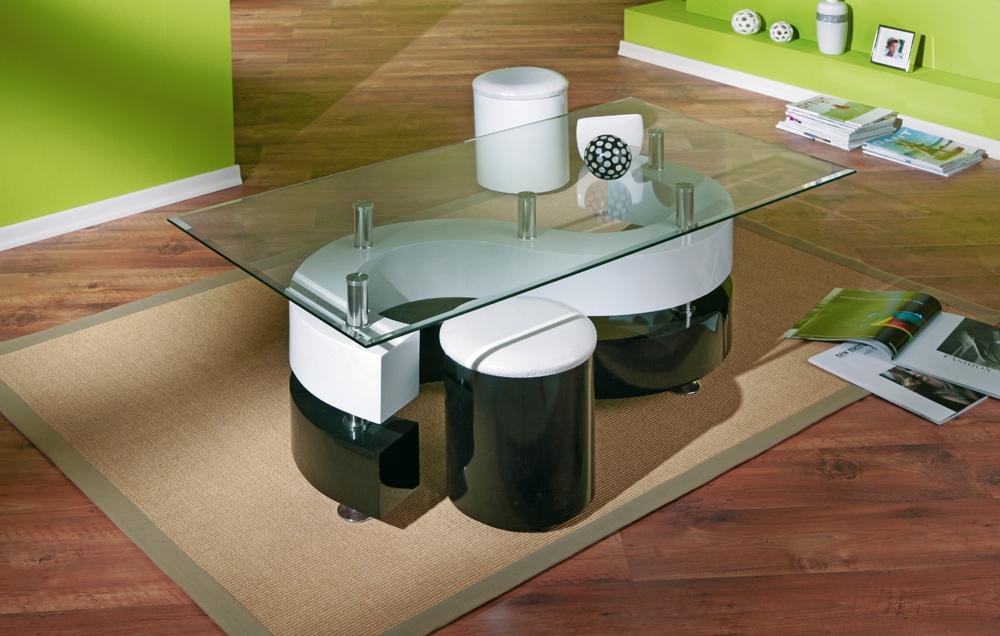 Table basse design en verre avec 2 poufs noire et blanche Cyrielle