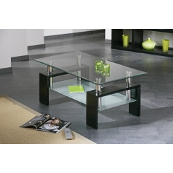 Table basse design noir en verre Diana