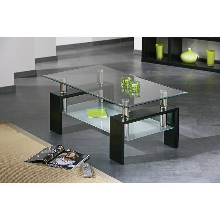 Table basse design noir en verre Diana