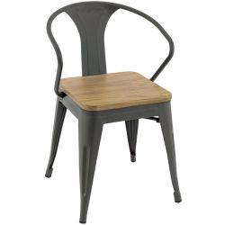 Fauteuil de restaurant vintage (lot de 4) en métal avec assise en bois Margaux