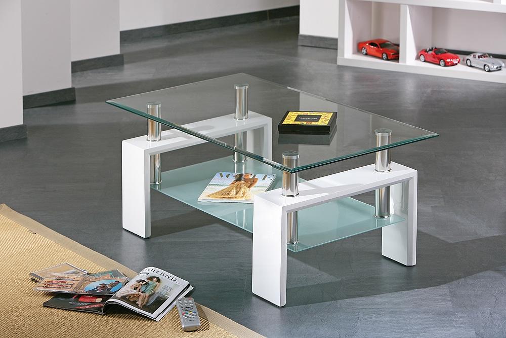Table basse design blanche en verre Alizée