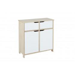 Commode contemporaine 2 portes/2 tiroirs en pin massif naturel/blanc Jessy
