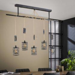 Suspension industrielle en métal 5 lampes Eddyn