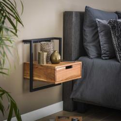 Table de chevet contemporaine en bois d'acacia et métal Olivia