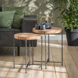 Set de tables d'appoint en bois d'acacia et métal Ø 37 et 42 cm Sybille