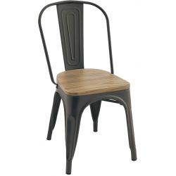 Chaise de restaurant vintage (lot de 4) en métal et bois Harrison