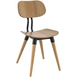 Chaise de restaurant moderne (lot de 2) bois et métal Liam