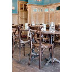 Chaise de restaurant industrielle (lot de 2) structure en hêtre Lizzie