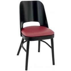 Chaise de restaurant contemporaine (lot de 2) structure hêtre et assise PU Jonas