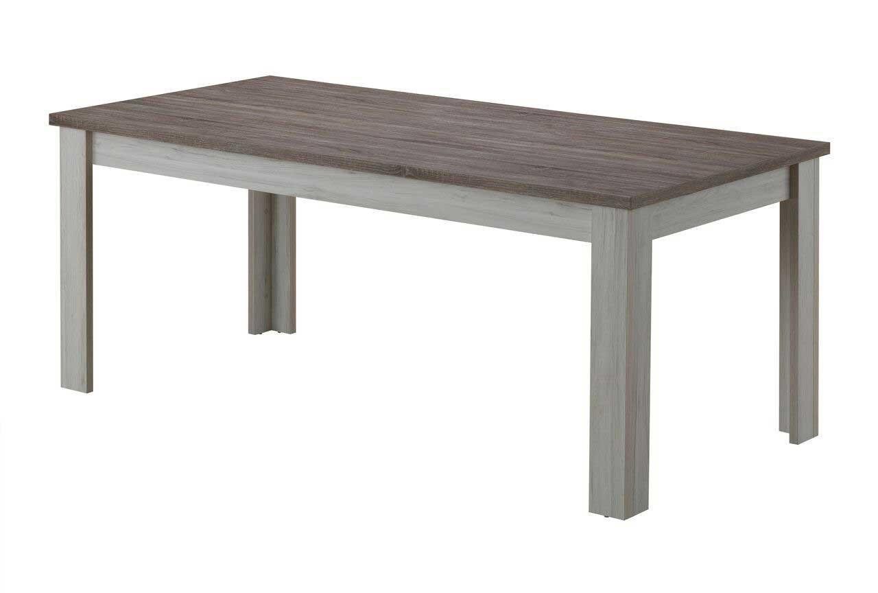 Table de salle à manger contemporaine chêne blanc/marron Maxime