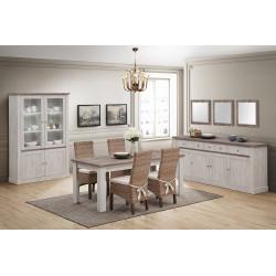 Salle à manger contemporaine chêne blanc/marron Maxime