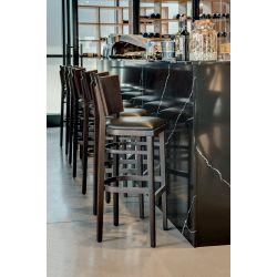 Tabouret de bar structure hêtre avec assise PU Myrthille