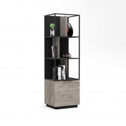 Bibliothèque industrielle chêne hickory/noir Aymar
