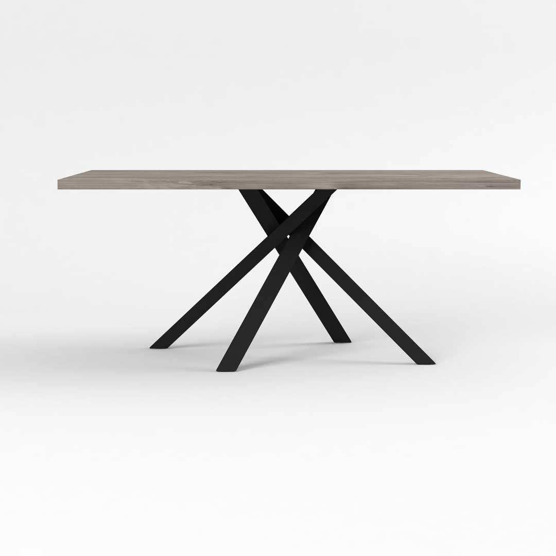 Table de salle à manger industrielle chêne hickory/noir Aymar