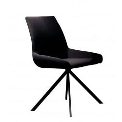Chaise de salle à manger moderne en tissu noir (lot de 2) Aymar