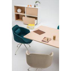 Chaise de réunion design pivotante avec piétement en métal gris Sandy